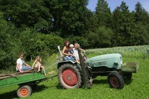 Urlaub auf dem Bauernhof: Eine Fahrt mit dem Traktor